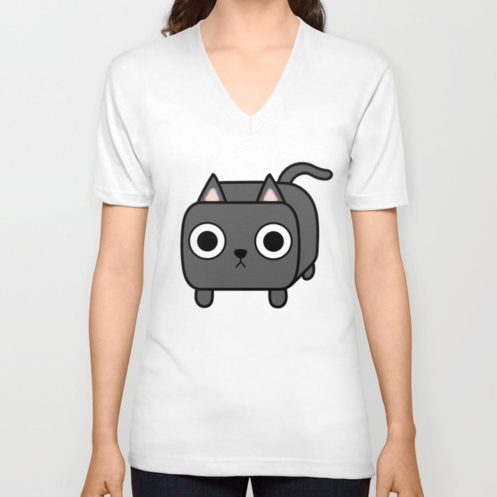 Cat Loaf - Grey Kitty Unisex V-Neck