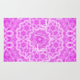 butterfly shapes on pink mandala Rug