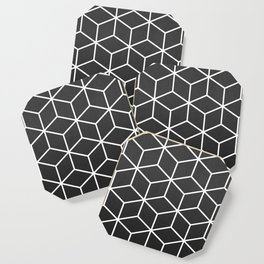 Charcoal and White - Geometric Textured Cube Design Coaster