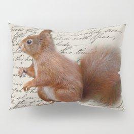 autumn fall seasonal shabby french scripts woodland animal squirrel Pillow Sham