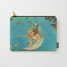 Vintage-Shabby-chic- Beautiful Christmas angel on aqua background Carry-All Pouch
