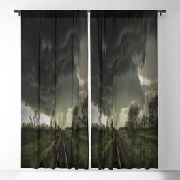 Give Me Shelter - Storm Over Railroad Tracks in Kansas Blackout Curtain