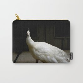 Elegant white peacock vintage shabby rustic chic french decor style woodland bird nature photograph Carry-All Pouch