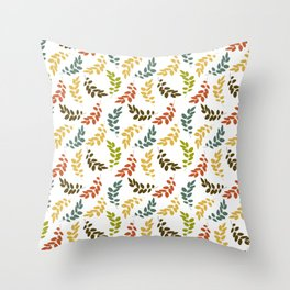 Colorful Leaves, Leaf Pattern - Blue Green Yellow Throw Pillow