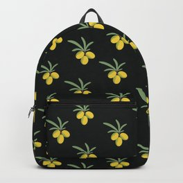 The pattern of sea-buckthorn berries on a dark background Backpack