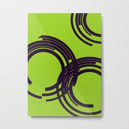 Black open rings on green Metal Print