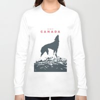 canada Long Sleeve T-shirts featuring Visit Canada by ahutchabove