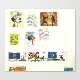 stamp collection Canvas Print