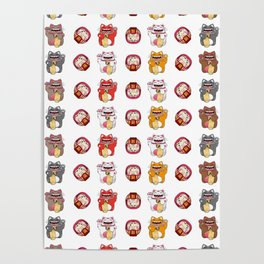 Colorful Maneki - neko pattern design Poster
