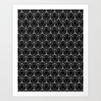 Icosahedron Pattern Black Art Print