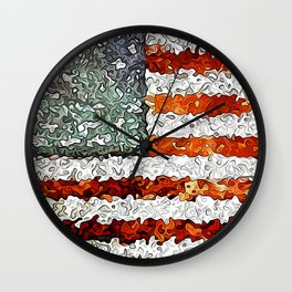American Flag Abstract Wall Clock