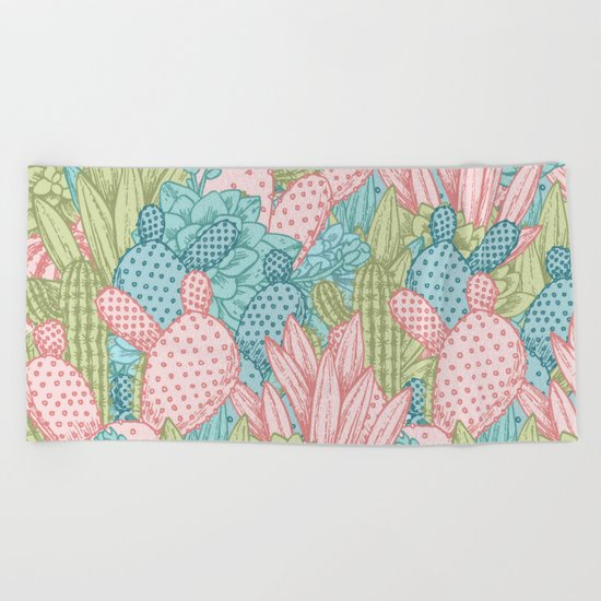 Pastel Cacti Obsession #society6 Beach Towel