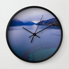Lake Hawea lake wakatipo blue crystal clear panorama blue Wall Clock