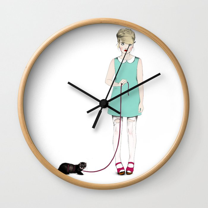 The girl with the ferret Wall Clock