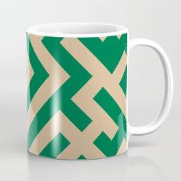 Tan Brown and Cadmium Green Diagonal Labyrinth Coffee Mug