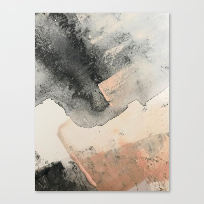 Peace and Quiet [2]: a pretty, minimal abstract piece in gray and peach by Alyssa Hamilton Art Leinwanddruck