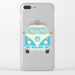 Mid Century Modern Micro Bus by Art of Scooter Clear iPhone Case