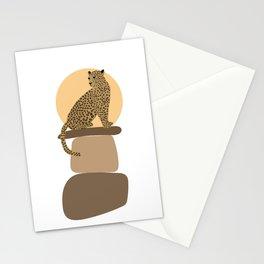Leopard on the rocks Stationery Cards