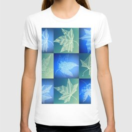leaf collage in blue T-shirt