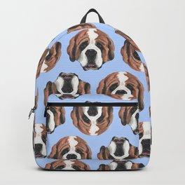 St Bernard in Blue Backpack