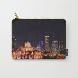 Chicago skyline and Buckingham Fountain at night. Carry-All Pouch