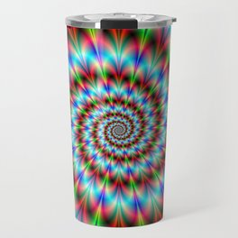 Spiral Rosette in Blue Green and Red Travel Mug