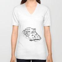hippo V-neck T-shirts featuring Hippo by Julia Kisselmann