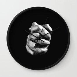 Praying old hands zipper bw Wall Clock