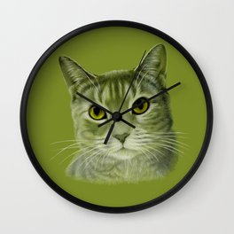 Green cat Wall Clock