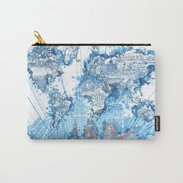 world map city skyline 5 Carry-All Pouch
