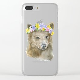 Brown Bear Floral Watercolor Clear iPhone Case