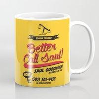 better call saul Mugs featuring Better Call Saul by Krikoui