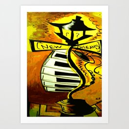 Black and gold New Orleans street lamp with piano keys Art Print