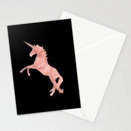 Unicorn Pink Rose Gold Black Stationery Cards