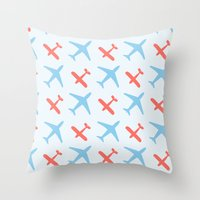 airplanes Throw Pillows featuring Airplanes by Daily Design