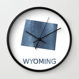 Wyoming map outline Dark blue clouded watercolor Wall Clock