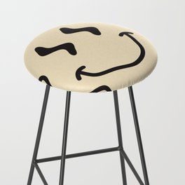 Wonky Smiley Face - Black and Cream Bar Stool
