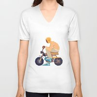 honda V-neck T-shirts featuring #2 HONDA Z50 by Brownjames Prints