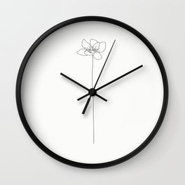 Elegant flower illustration- black & white Wall Clock