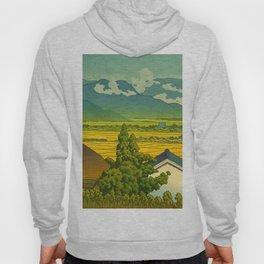 Kawase Hasui Vintage Japanese Woodblock Print Beautiful Mountain Valley Farmland Yellow Hues Hoody