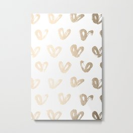 Luxe Gold Hearts on White Metal Print
