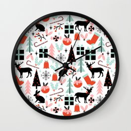 Christmas ornaments minimal holly reindeer candy cane christmas tree pattern print Wall Clock