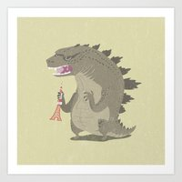 godzilla Art Prints featuring Godzilla by Rod Perich