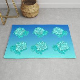 Teal Sea Turtles Blue & Aqua Pattern Rug
