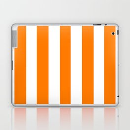 Heat Wave orange - solid color - white vertical lines pattern Laptop & iPad Skin