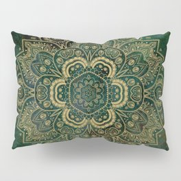 Golden Flower Mandala on Dark Green Pillow Sham