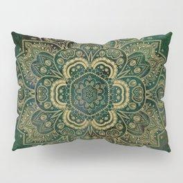 Golden Flower Mandala on Dark Green Pillow Sham