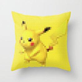 Electric Mouse - Legobrick Throw Pillow