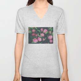 pink tulips photograph Unisex V-Neck