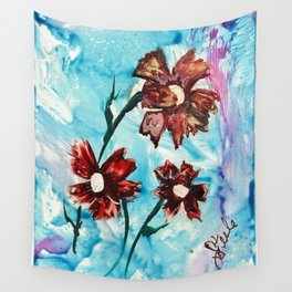 Brown flowers Wall Tapestry
